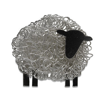 Silver Sheep Brooch Facing Right