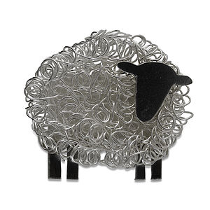 Silver Sheep Brooch Facing Right - pins & brooches