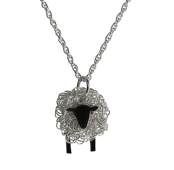 Silver Sheep Pendant And Chain Facing Front