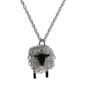Silver Sheep Pendant And Chain Facing Front - necklaces & pendants