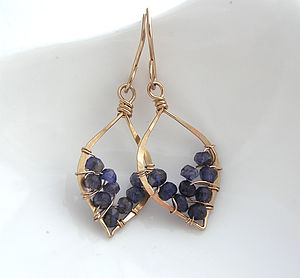 Iolite Leaf Hoop Earrings - earrings