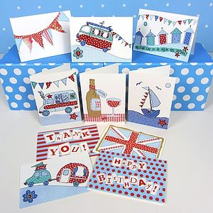 Pack Of 10 British Seaside Cards - winter sale