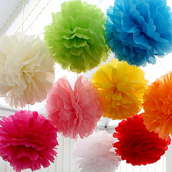 Pack Of Four Decorative Tissue Paper Pom Poms