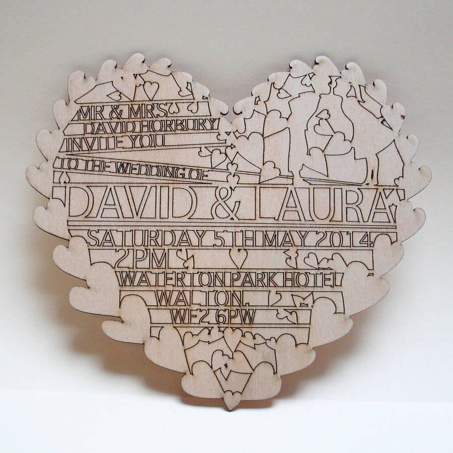 We Re Sorry Hearts Laser Cut Wooden Wedding Invitation Is No ...