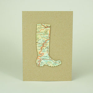 Personalised Map Welly Boot Card