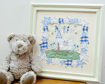 Personalised Christening Embroidered Artwork