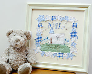 Personalised Christening Embroidered Artwork - pictures & prints for children