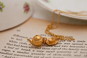 Gold Tea Set Necklace - charm jewellery