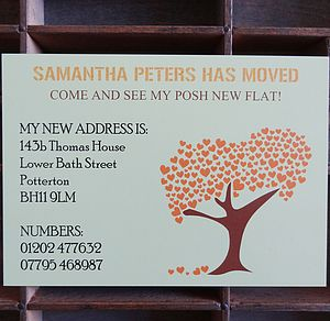 50 Personalised Tree Change Of Address Cards - new home cards