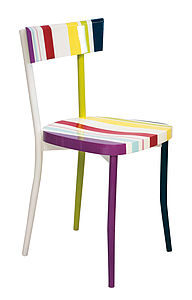 Multi Coloured Striped Kitchen Chair - furniture