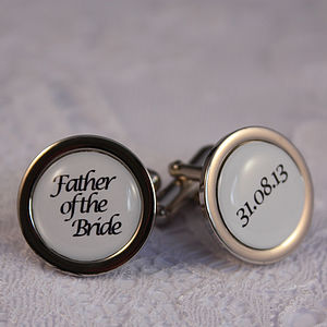 Father Of The Bride Personalised Cufflinks - men's accessories