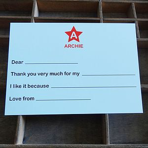 50 Personalised Star Thank You Cards