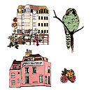 Houses Rose And Owl Magnet Set