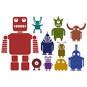 Multicoloured Robots Wall Sticker Set - wall stickers