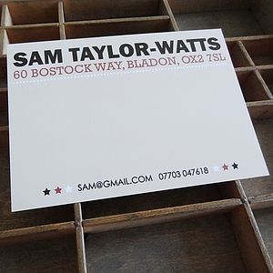50 Personalised Correspondence Cards - office & study