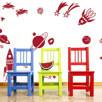 Rockets And Planets Wall Sticker Set