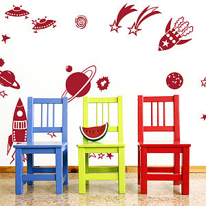 Rockets And Planets Wall Sticker Set - children's room accessories