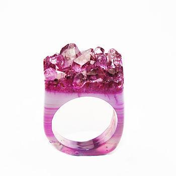 Hand Carved Quartz Flamingo Crystal Ring