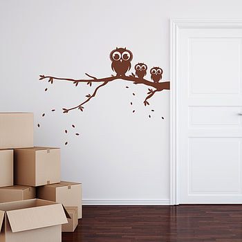 Owls On A Branch Wall Sticker