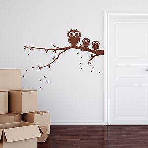 Owls On A Branch Wall Sticker - wall stickers