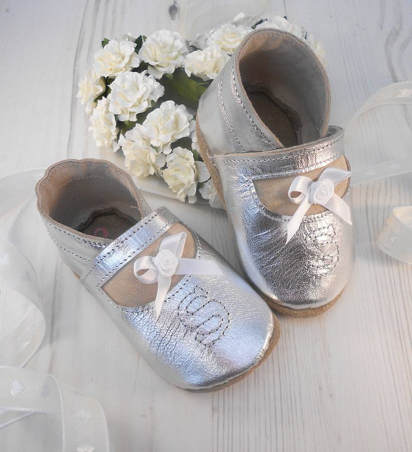 personalised silver leather baby shoes by born bespoke ...