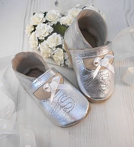 Personalised Silver Leather Baby Shoes - christening wear