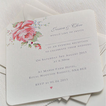 English Rose Design Wedding Invitations