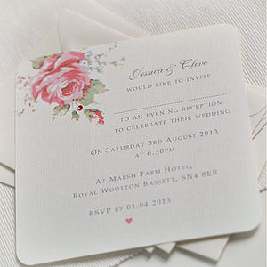 English Rose Design Wedding Invitations - wedding stationery