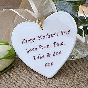 Personalised Mother's Day Heart Decoration - ribbon & wrap