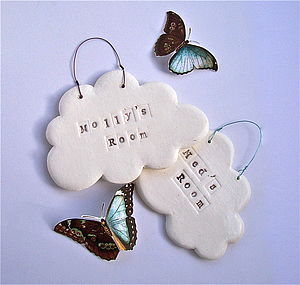 Porcelain Cloud Personalised Name Plaque - decorative accessories