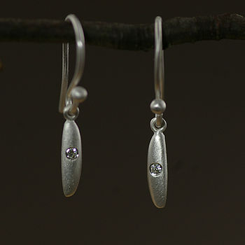 Sterling Silver Rice Diamond Set Earrings