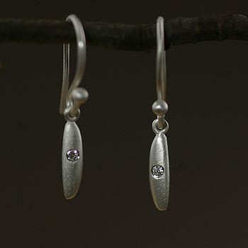 Sterling Silver Rice Diamond Set Earrings