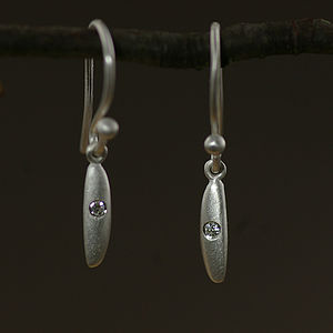 Sterling Silver Rice Diamond Set Earrings - earrings