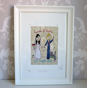 Personalised Wedding / Anniversary Picture - mixed media & collage