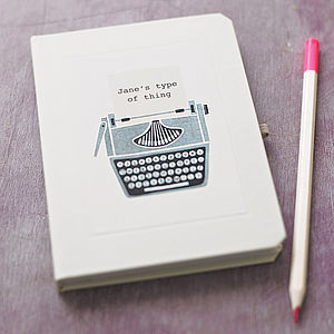 Personalised Typewriter Notebook - stocking fillers for her