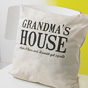 Personalised Grandparents House Cushion - living room