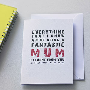 'Being A Fantastic Mum' Card - cards