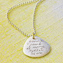 Personalised Handwritten Message Silver Pendant