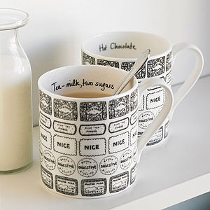 Illustrated Biscuit And Drink Mug - kitchen