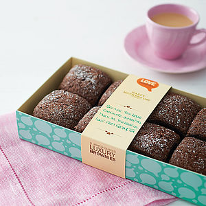 Box Of Eight Love Brownies - food & drink gifts under £30