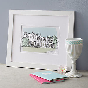 Personalised Wedding Venue Portrait Print - 100 best gifts