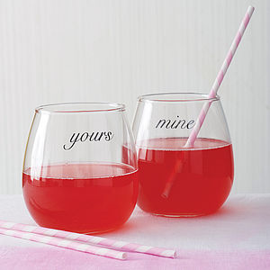 Pair Of 'Yours' And 'Mine' Glasses - drink & barware