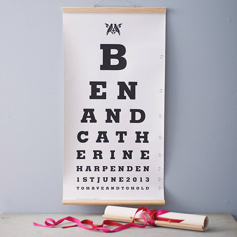 Personalised Wedding Gifts Not On The High Street : personalised couple eye test chart by wasted & wounded ...