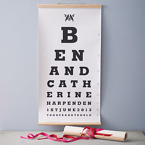 Personalised Couple Eye Test Chart - original wedding gifts