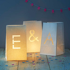 Paper Bag Letter Lantern - candles & candlesticks
