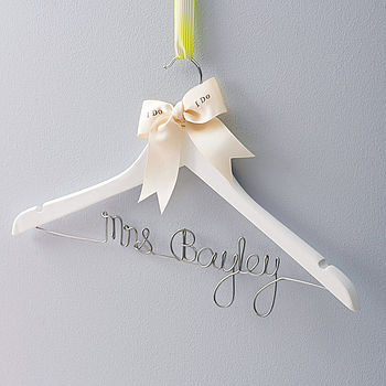 White painted wood with personalised bow