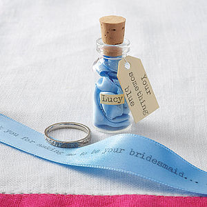 'Something Blue' Message In A Bottle - hen party gifts & styling