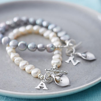 Initial Freshwater Pearl Lily Bracelet