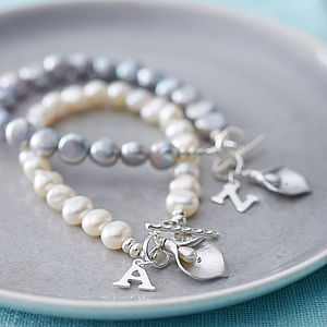 Initial Freshwater Pearl Lily Bracelet - gifts for friends