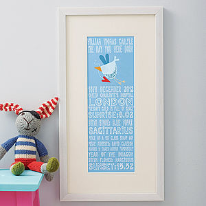 Personalised 'The Day You Were Born' Print - baby & child